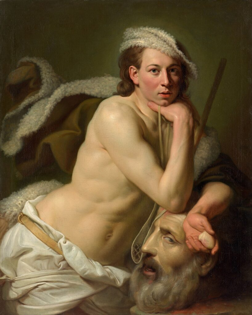 Johan Zoffany: Autoportrét jako David s hlavou Goliáše   Zdroj Wikipedia